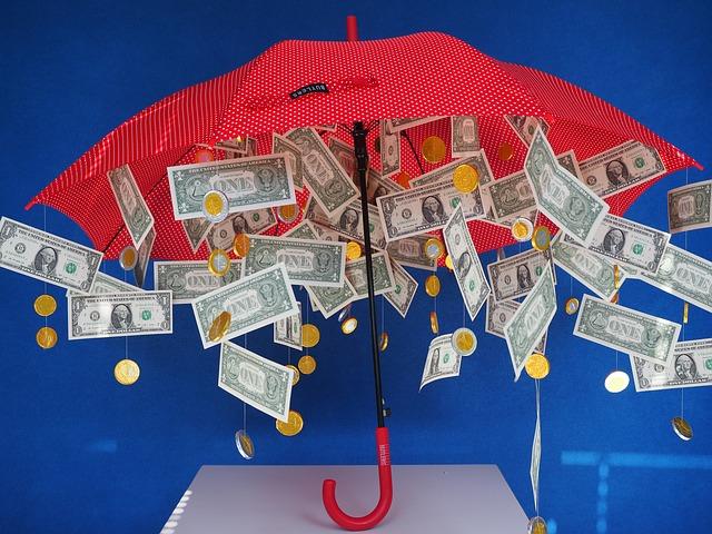 peníze pod deštníkem